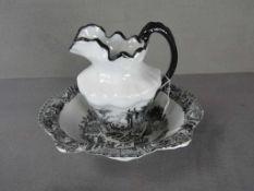 Englisches Waschset Schüssel und Henkelkrug Englische Szenerie ca.28cm hoch Keramik<