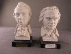 Zwei Büsten Beethoven und Mozart Hersteller Goebel Deutschland rückseitig signiert Höhe:23cm<br