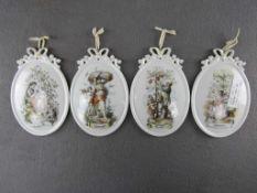 Vier Wandkacheln die Jahreszeiten 16x10,5cm Königlich Tettau<