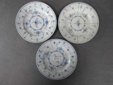 Drei antike Teller China blau gemarkt