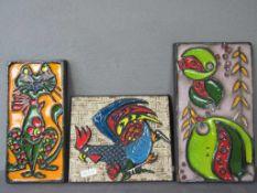 3 große Keramik Wandplatten 60er Jahre