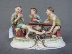 Keramikfigur Kartenspieler Kinder unterseits gemarkt 21cm