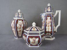 Drei Teile italienische Keramik Hersteller B&G farbenfroh mit Feuervogel von 19,5-42cm