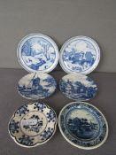 Wandteller Konvolut diverse Hersteller teilweise Delft Holland hier:sechs Stück Durchmesser 19,5-