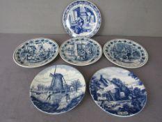 Wandteller Konvolut diverse Hersteller teilweise Delft Holland hier:sechs Stück 21 cm Durchmesser