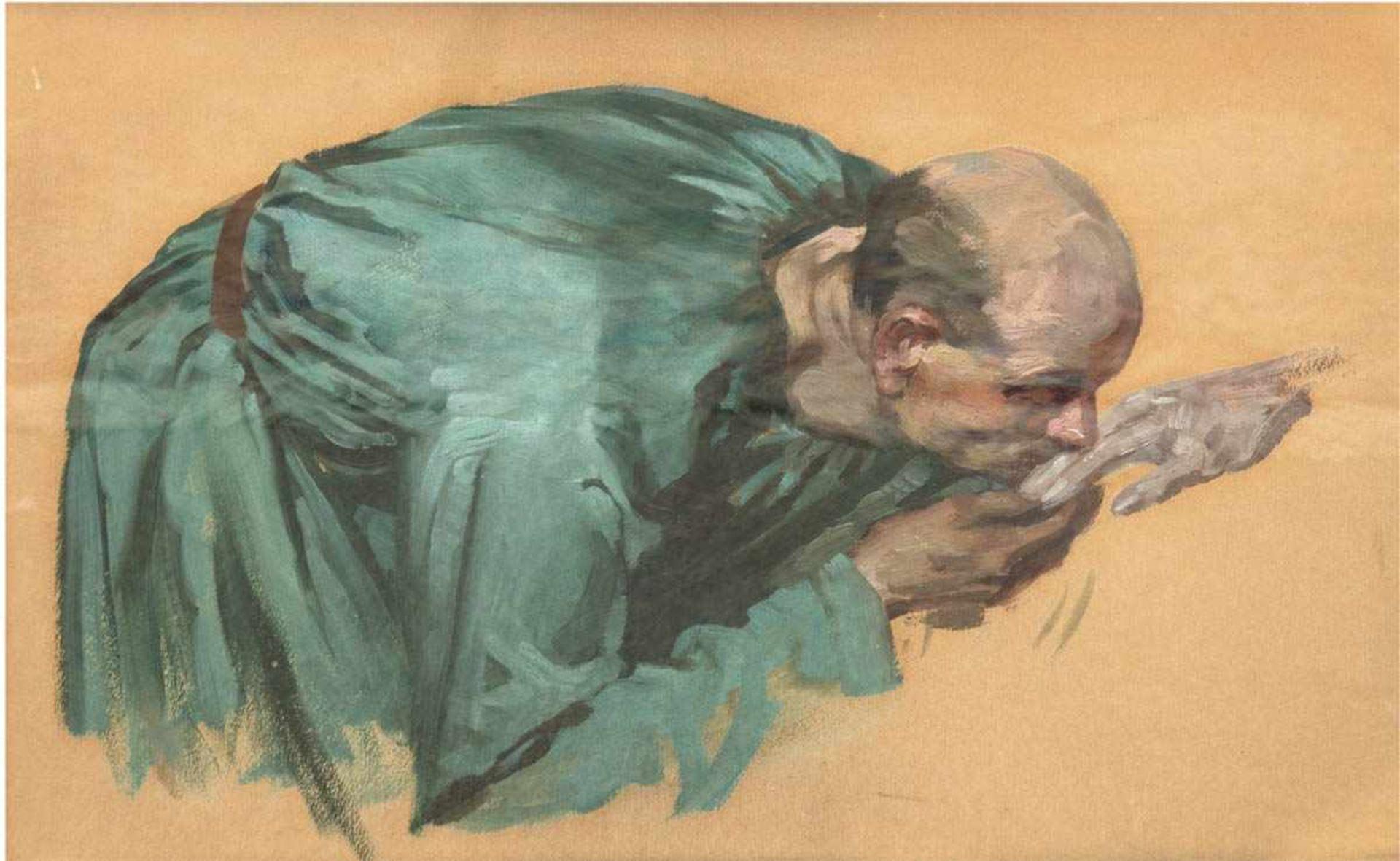 """Ölstudie eines akademischen Malers """"Der Handkuß"""", unsigniert, 36x53 cm, hinter Glas undRahmen"""