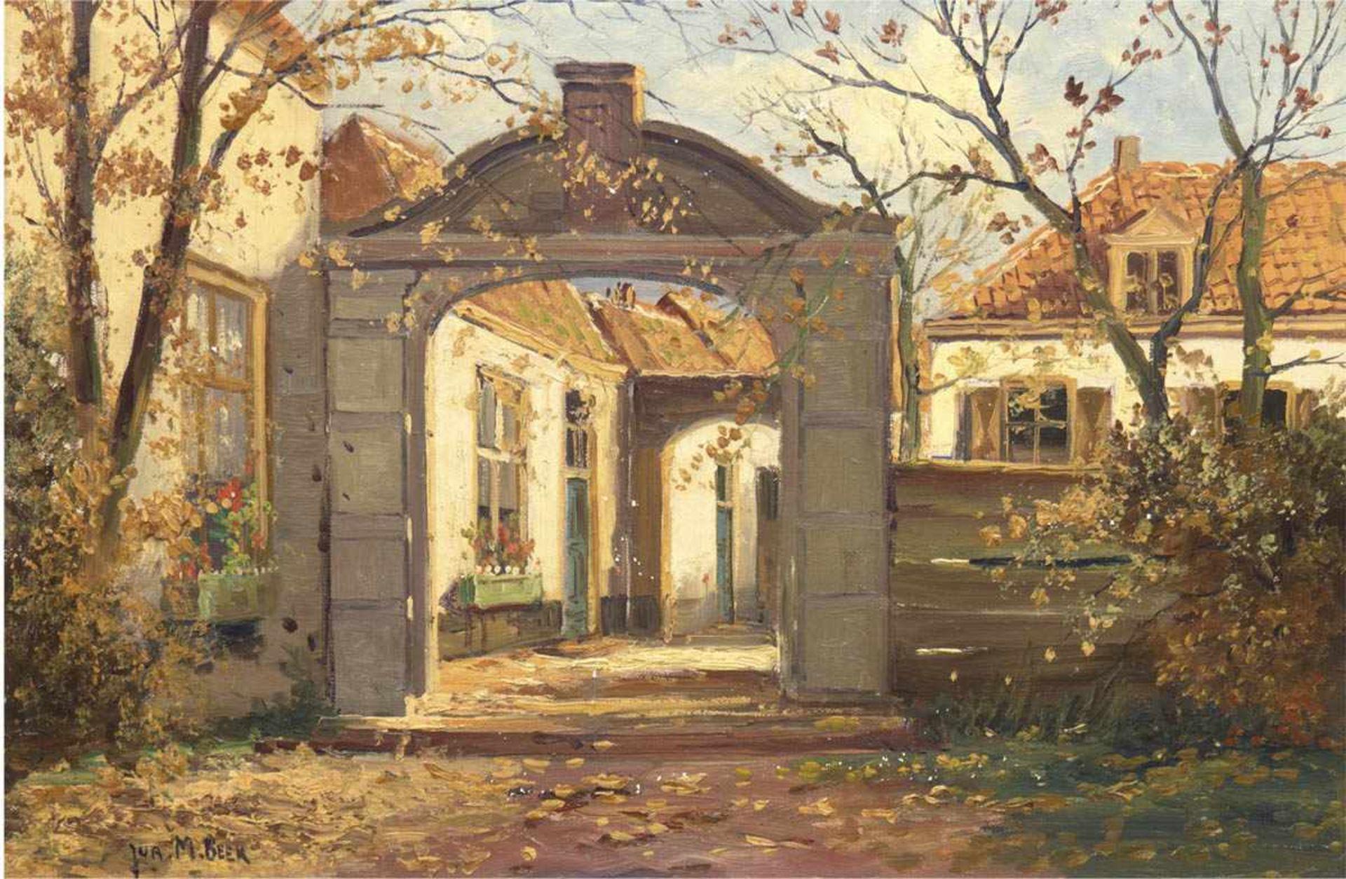 "Beek, Jurrien Marius (1879 Arnhem-1965 Den Haag) ""Tor zum Haus"", Öl/Lw., sign. u.l., 40x60cm,"