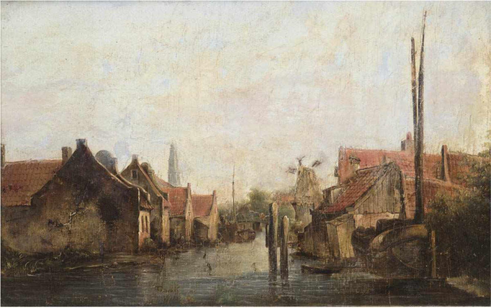 "Landschaftsmaler des 19. Jh. ""Kanal in Amsterdam"", Öl/Lw., undeutl. sign., doubliert,30x45 cm,"