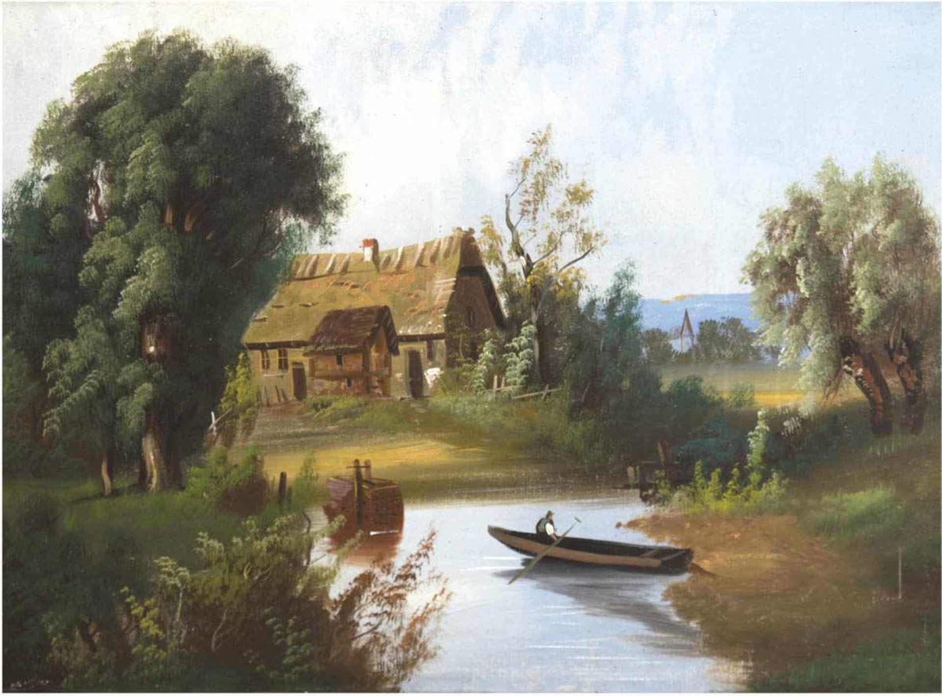 """Romantiker (19. Jh.) """"Weiher am Gehöft"""", Öl/Lw., unsign., Lw. beschädigt, 58x79 cm, Rahmen"""