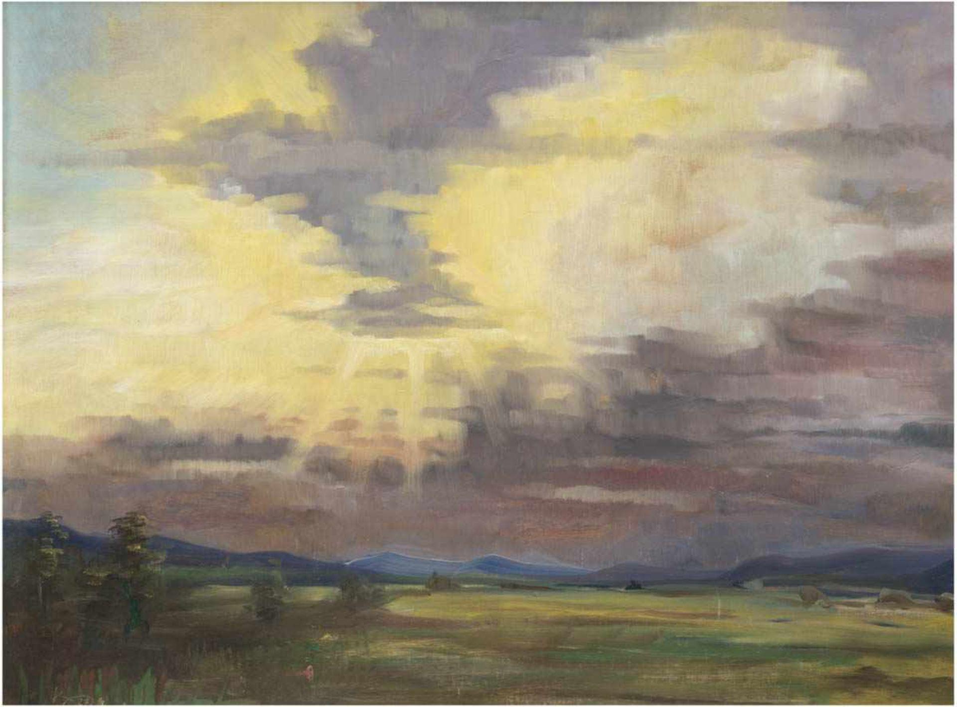 """Monogrammist """"KO"""" """"Landschaft unter Sonnenstrahlen"""", Öl/Mp., monogr. und dat. '27 u.l.,53x66 cm,"""