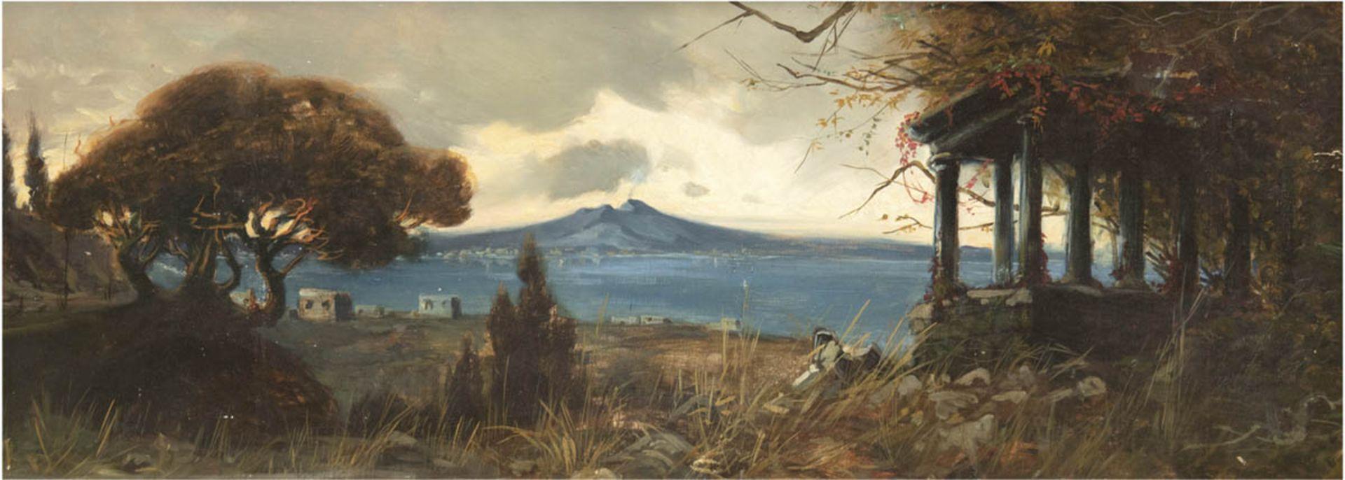 """Landschaftsmaler (Italien um 1900) """"Bucht von Neapel mit Blick auf den Vesuv"""", Öl/Lw./Mp.,unsign.,"""