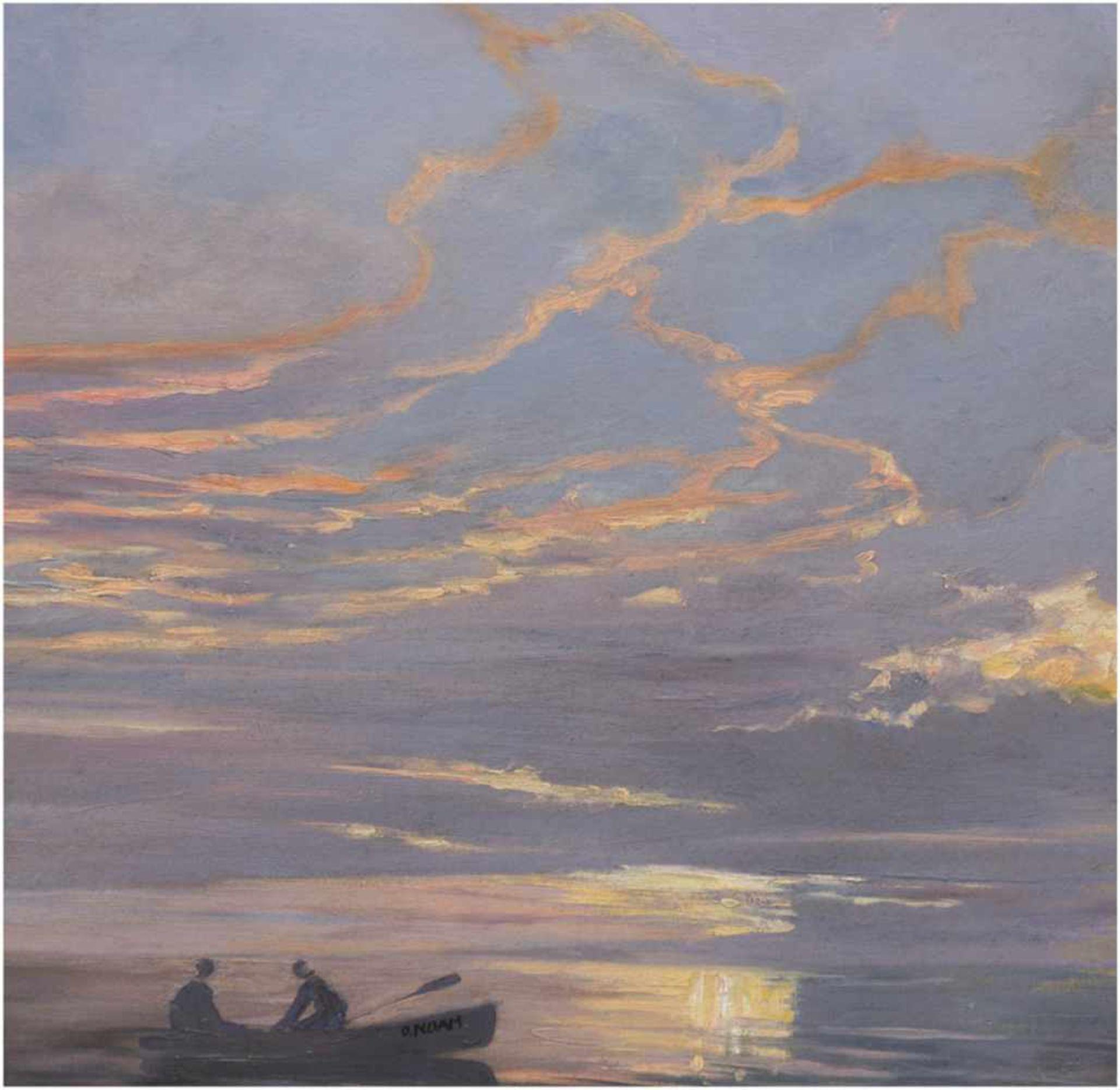 """Noah, Alexander Oskar (1885-1968 Hamburg) """"Späte Kahnfahrt"""", Öl/Hf., sign. auf dem Boot,47x45 cm,"""