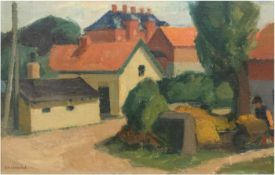 "Löndal, Eiler (1887-1971) ""Dänische Dorfszene"", Öl/Lw., sign. u.l., 40x60 cm, Rahmen"