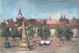 "Wilhelm, Paul 1886 Greiz- 1965 Radebeul) ""Erfurt- Blick vom Domplatz auf die Altstadt"",Öl/Lw.,"