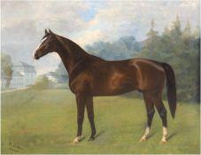 """Volmers, Karl (1868 Düsseldorf- 1944 Fischenich) """"Porträt des Hengstes 'Dolomit'"""", Öl/Lw.,signiert"""
