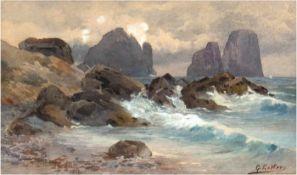 "Estler, Georg (1860 Meißen-1954 Dresden) ""Küstenlandschaft vor Capri"", Aquarell, sign.u.r., 12,"