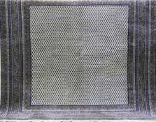 Sarough Mir, hellgrundig, mit durchghendem Muster, 1 Kante besch., gereinigt, 200x200 cm
