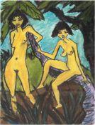 """Sauler, Gabriele (1969) """"Zwei junge Frauen nach dem Bade"""", Pastell/Kohle/Papier, sign. u.mittig,"""