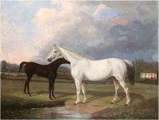 """Maler 1. Hälfte 19. Jh. """"Stute mit Fohlen auf der Weide"""", Öl/Lw., doubliert, unsigniert,"""