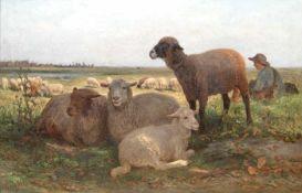 """Brendel, Albert Heinrich (1827 Berlin-1895 Weimar) """"Mittagsruhe- Liegende und grasendeSchafe in"""