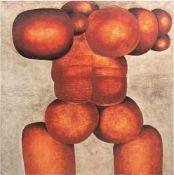 """Engst, Georg (geb. 1930 Hamburg-ansässig in Jersbek) """"Skulptur in Rot"""", Öl/Lw., unsign.,aus der"""