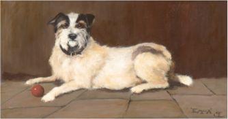 """Monogrammist """"Hund 'Emma' mit rotem Ball"""", Öl/Holz, monogr. und bez. u.r., 25x45 cm,Rahmen"""