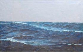 """""""Seestück- Seegang auf hoher See"""", Öl/Lw., unsign., 70x100 cm"""