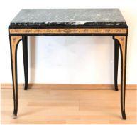 Tisch, farbig gefaßt und floral bemalt, Marmorplatte, 69x78x49 cm