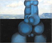"""Engst, Georg (geb. 1930 Hamburg-ansässig in Jersbek) """"Blaue Skulptur vorLandschaftshintergrund"""","""