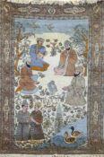 Bilderteppich, wohl Pakistan, mehrfarbig, Bildmotiv mit Mensch-, Tier und Foralmotiven,sign.,