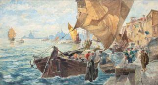 """Heyde, P. """"Beladen der Fischerboote im südlichen Hafen"""", um 1880, Aquarell, sign. u.l.,27x43 cm,"""