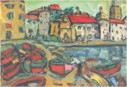 """Frickel, J. """"Fischerboote im Hafen"""", Mischtechnik, sign. u.l., 28x38 cm, hinter Glas"""