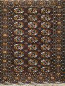 Buchara, Wolle auf Wolle, dunkelgrundig, mit durchgehendem Muster, 2 Ecken leichtbeschädigt, leichte