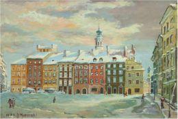 """Kotarski, J. (20. Jh.) """"Marktplatz im Winter"""", Öl/Lw., signiert und datier 1979 u.l.,37x49 cm,"""