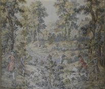 Großer Gobelin, 18./19. Jh., Waldlandschaft mit Darstellung von Jagdszenen mit Hunden undzu Pferd,