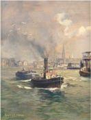 "Hanselmann, J. ""Hamburger Hafen"", Öl/Hartfaser, sign. u.l., 32x26,5 cm, Rahmen"