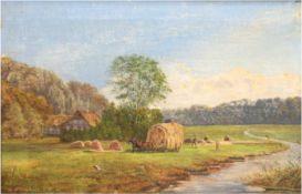 """Bernardt, C. (1. Hälfte 20. Jh.) """"Bauern bei der Heuernte in sommerlicher Flußlandschaft"""",Öl/Lw.,"""