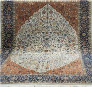 Indischer Täbriz, rot-/blaugrundig, mit floralen Motiven, Kanten leicht belaufen, 1