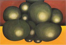 """Engst, Georg (geb. 1930 Hamburg-ansässig in Jersbek) """"Grüne Kugeln auf Orange und Braun"""",Öl/Lw.,"""