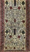 Nain Teppich, dunkelgrundig, Bilddarstellung mit Mensch-, Tier- und Floralmotiven, 184x90cm