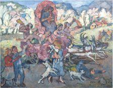 "Schubert, Otto (1892 Dresden- 1970 Dresden) ""Volksfest"", Öl/Lw., signiert u.l., 85x108 cm,Rahmen ("
