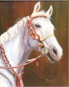 "Berti (20. Jh.) ""Pferdeporträt"", Öl/MP., signiert u.r., 16x12,5 cm, Rahmen"