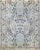 Teppich, hellgrundig, mit zentralem Floralmotiv, Reinigung empfohlen, 204x118 cm