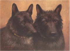 """Crowther, H. (Anfang 20. Jh.) """"Zwei Highland-Terrier"""", Öl/Lw., signiert und datiert 1911u.l., min."""