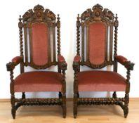 Paar Sessel im Barockstil, 19. Jh., Eiche, gedrechseltes, verstrebtes Fußgestell,gepolsterter