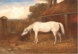 """Maler des 19. Jh. """"Stute mit Fohlen auf Bauernhof"""", Öl/Lw., unsigniert, 20x24 cm, Rahmen"""
