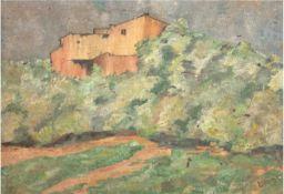 """Bahr """"Landschaft mit Haus in einer Anhöhe"""", Öl/Sp., sign. u.r., 37,5x50 cm"""