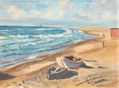 "Konopacki, Martin (1891-?) ""Boote am Ostseestrand"", Öl/Lw., sign. u.r., 53x66 cm, Rahmen"