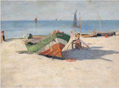 """Maler um 1890 """"Fischerboote am Strand"""", Öl/Lw./Mp., unsign., 32x40 cm, Rahmen"""