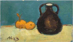 """Monogrammist """"AS"""" (Worpsweder Maler 20. Jh.) """"Stilleben mit Krug und Orangen"""", Öl/Hf.,monogr. u."""